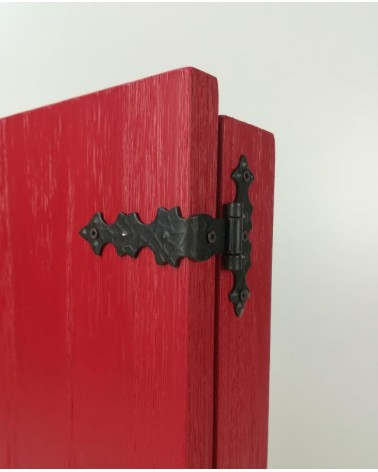 detail of the antiqued hinges of the Butsudan Travel Red